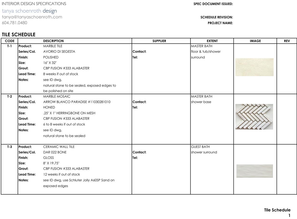 Interior Design Specification Template